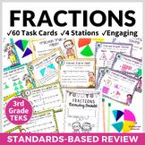 3rd Grade FRACTIONS TASK CARDS TEKS 3.3F 3.3H 3.7A ~ 60 Task Cards