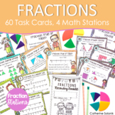 3rd Grade Fraction Review & Practice Bundle | 60 Task Cards