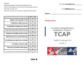 3rd Grade Tn Ready Tcap Ela Practice Test A By Assessment Angel Ms