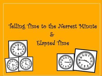 3rd Grade Telling Time & Elapsed Time Promethean Flip char