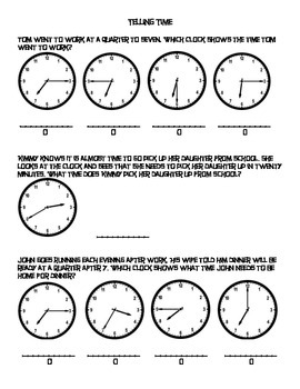 3rd Grade Telling Time Word Problems