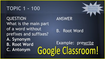 3rd Grade Test Prep GOOGLE CLASSROOM GAME - ELA Test Taking Terms
