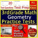 3rd Grade Math Geometry - Test Prep Math Mystery - GOOGLE READY!