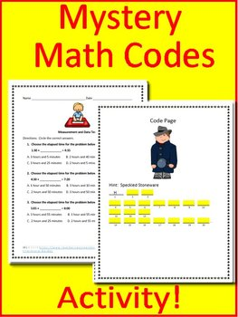 3rd Grade Test Prep Math Game:  Measurement and Data - Math Mystery Activity