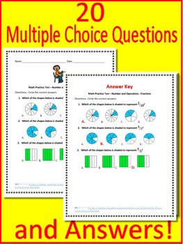 3rd Grade Test Prep Math Game: Number + Operations - Fractions Math Mystery