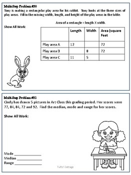 3rd Grade Test-Prep Multi-Step Story Problems