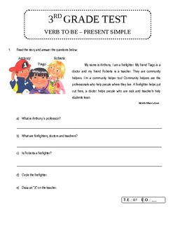 3rd Grade Teste - Verb TO BE simple present