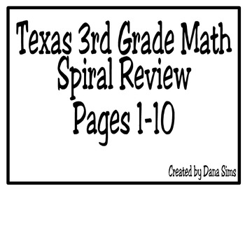 3rd Grade Texas Math: Daily Spiral Review Days 1-10