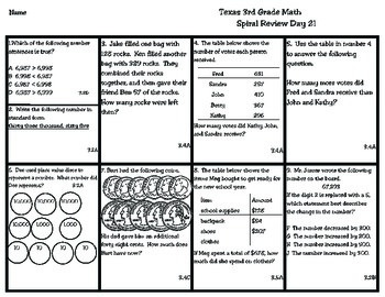 3rd Grade Texas Math: Daily Spiral Review Days 21-30