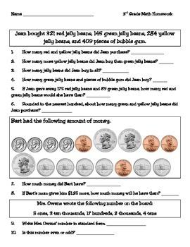 3rd Grade Texas Math Homework #6