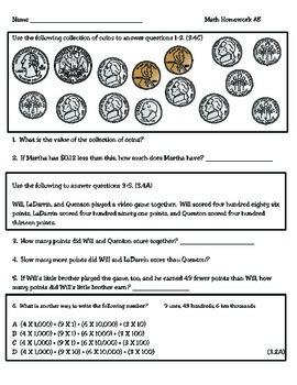 3rd Grade Texas Math Homework #8