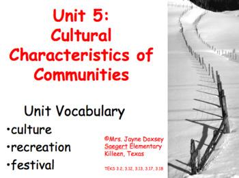3rd Grade Texas SS Cultural Characteristics of Communities (Unit 5)