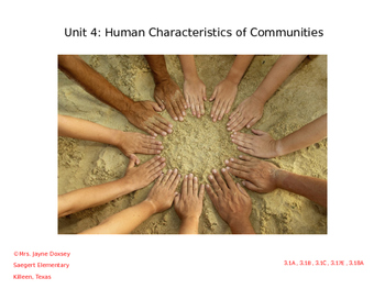 3rd Grade Texas SS Human Characteristics of Communities for Texas (Unit 4)