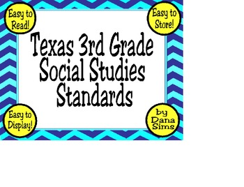 3rd Grade Texas Social Studies (TEKS) Standards (Posters)