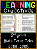 3rd Grade Texas TEKS Math Learning Objectives Cards | Color and B&W