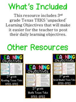 3rd Grade Texas TEKS Reading/ Writing Learning Objective Cards