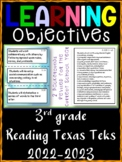 3rd Grade Texas TEKS Reading/ Writing Learning Objective Cards | Color & B&W
