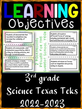 3rd Grade Texas TEKS Science Learning Objective Cards