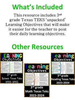 3rd Grade Texas TEKS Social Studies Learning Objectives Cards