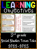 3rd Grade Texas TEKS Social Studies Learning Objectives Cards | Color & B&W