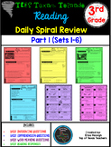 3rd Grade Texas Tornado Daily Reading Spiral Review PART 1 TEKS Based PAPER ONLY