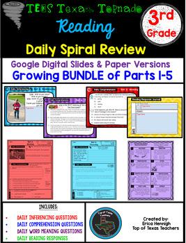 3rd Grade Texas Tornado Reading Spiral Review Growing Bundle Google & Paper