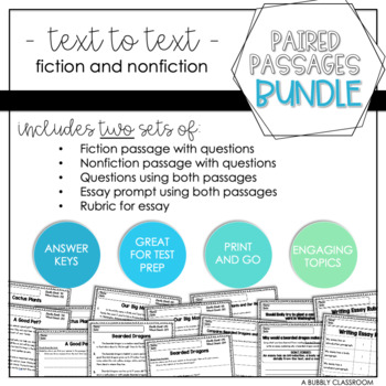 3rd Grade Text to Text Reading and Writing Bundle {Paired