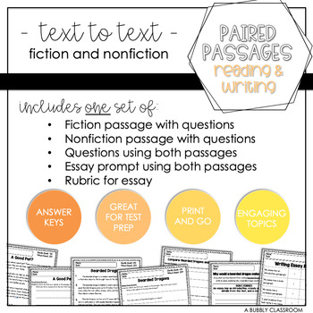 3rd Grade Text to Text Set #1 {Paired Passages}