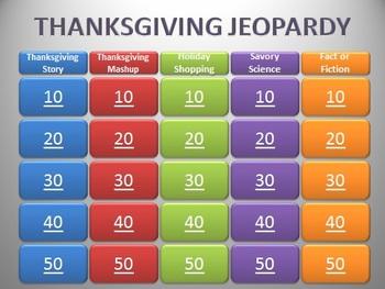 3rd Grade Thanksgiving Quiz Show Review