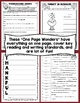 3rd Grade Thanksgiving One Page Wonders Activities Bundle