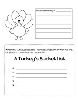 3rd Grade Thanksgiving Writing Prompts and Disguise a Turkey Activitiy