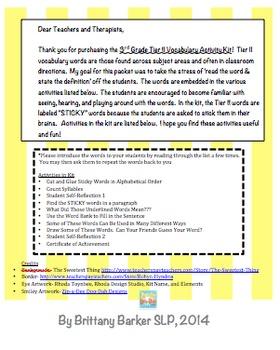 3rd Grade Tier 2 Vocabulary Activity Kit