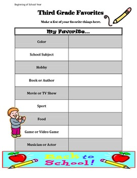 3rd Grade Time Capsule Beginning/End of Year Activity ~ Writing Sample + More