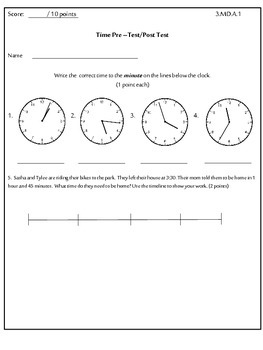3rd Grade Time Pre - Test/ Post-Test