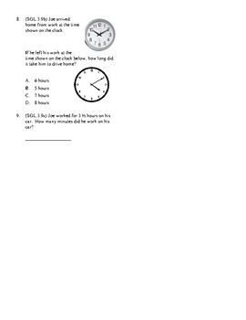 3rd Grade Time Unit Test