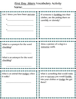 3rd Grade Treasures First Day Jitters Pack