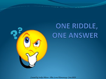 "3rd Grade Treasures ""One Riddle One Answer"" Introductory PowerPoint"
