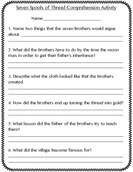 3rd Grade Treasures Seven Spools of Thread Vocabulary/Comprehension Pack
