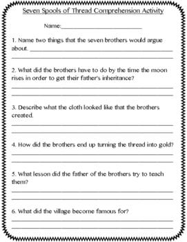 3rd Grade Treasures Seven Spools of Thread Vocabulary/Comp