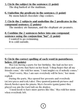 3rd Grade Treasures Unit 1 Assessment/Study Guide