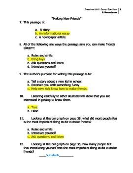 3rd Grade Treasures Unit I Comprehension Questions (5 main stories/5 follow-up)