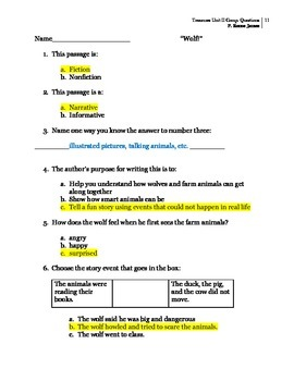 3rd Grade Treasures Unit II Comprehension Questions (5 main stories/5 follow-up)