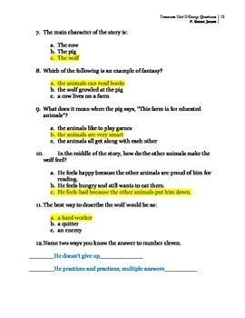 3rd Grade Treasures Unit II Comprehension Questions (5 main stories/5 follow-up)