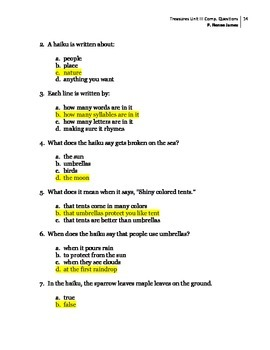 3rd Grade Treasures Unit III Comprehension Questions(5 main stories/5 follow-up)