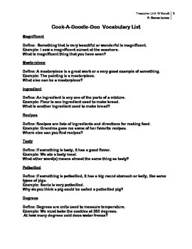 3rd Grade Treasures Unit IV Vocabulary Lists and Tests (5 stories)