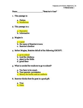 3rd Grade Treasures Unit V Comprehension Questions (5 main stories/5 follow-up)