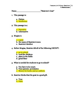 3rd Grade Treasures Unit V Comprehension Questions (5 main stories/5 follow-up)