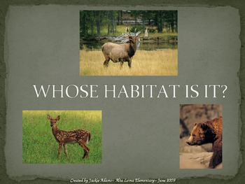 """3rd Grade Treasures """"Whose Habitat Is It?"""" Introductory PowerPoint"""