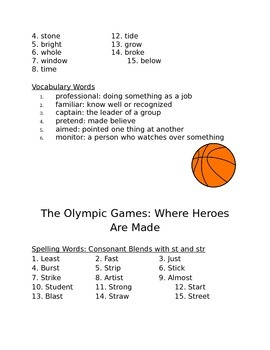 3rd Grade Trophies Spelling and Vocabulary List
