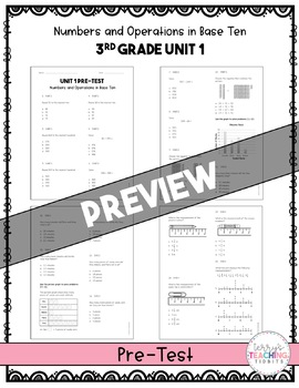 3rd Grade Unit 1 Math Test Pack {Paper/Pencil and Paperless}